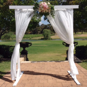 3 Post White Arbour with White Sheer Curtains