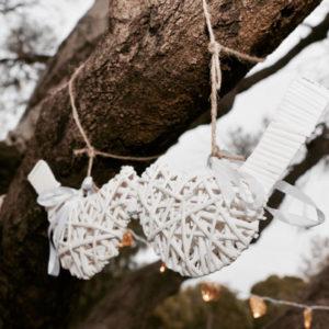 Hanging White Wicker Lovebirds