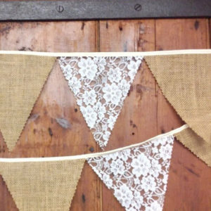 Lace and Hessian Bunting
