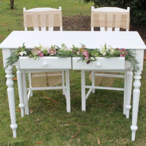 White Wooden Signing Table